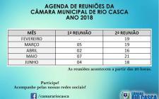 Agenda das Reuniões - 1º Semestre de 2018