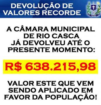 Devolução de valores recorde feito pela Câmara de Rio Casca