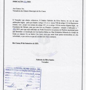 Indicação nº 055/2021 encaminhada ao Executivo