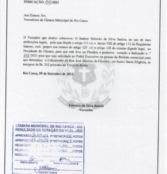 Indicação nº 058/2021 encaminhada ao Executivo